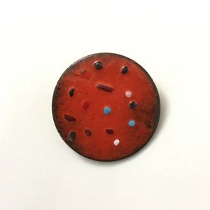 Vintage Copper Enamel Circle Brooch Dark Orange